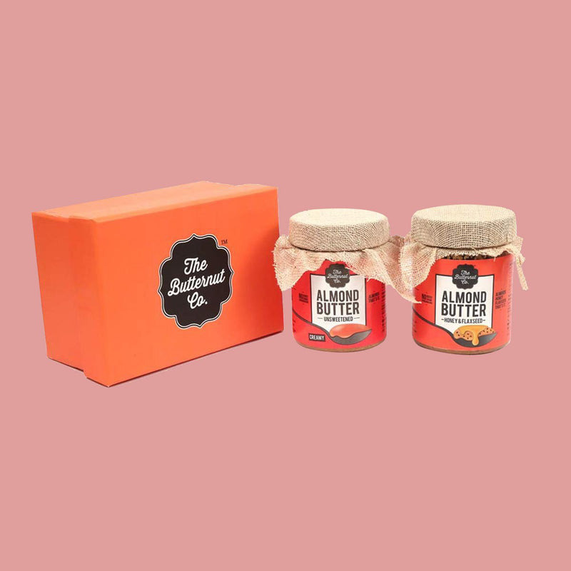 Festive Almond Nut Butter Flaxseed Honey & Unsweetened Peanut Butter, Creamy (Pack of 2)