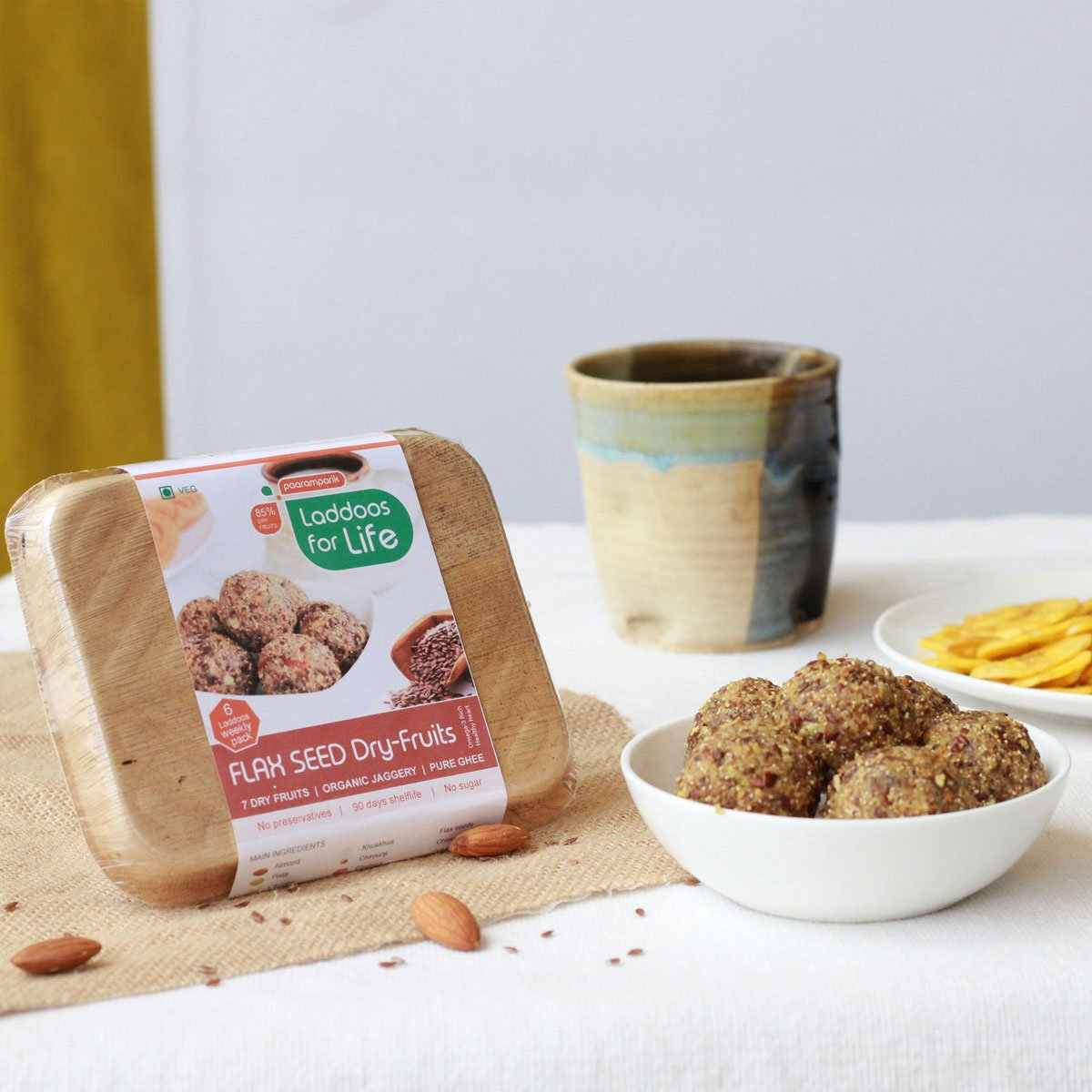 Heart Healthy Flax Seed Dry Fruits Laddoos (Made With Organic Jaggery, Pure Ghee)