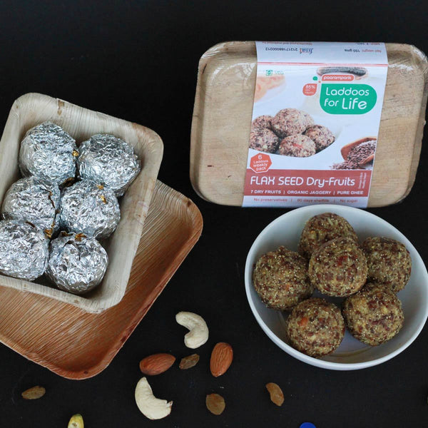 Heart Healthy Flax Seed Dry Fruits Laddoos (Made With Organic Jaggery, Pure Ghee) at Qtrove