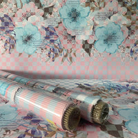 Floral Gift Wrapping Paper Bright Blue Pink Fun Facts (Pack of 10 Sheets)