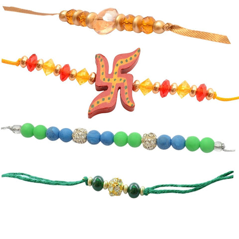 Foppish Mart Fantasia Assorted  Rakhis For Brother - (Set of 4 pieces)