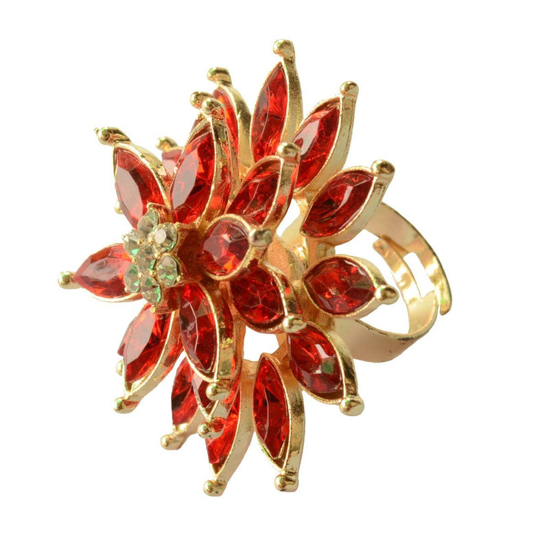 Royal Triple layered Ruby Red Cocktail Ring For Women