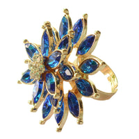 Stylish Triple layered Blue  Cocktail Ring For Women