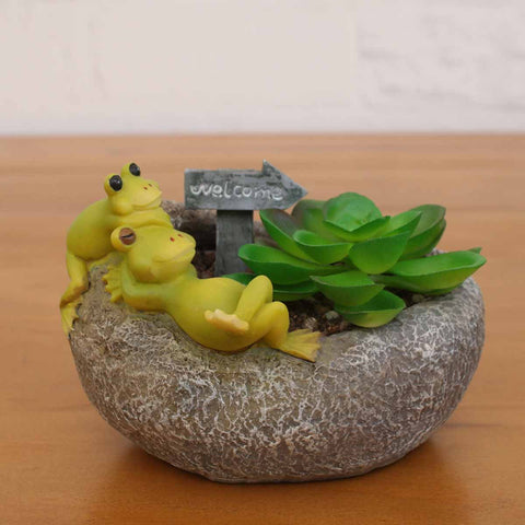 Frogs Resting on Stone Resin Succulent Pot