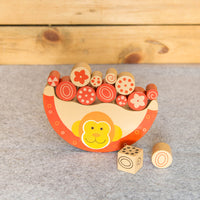 Eco-Friendly Wooden Fruit Seller Monkey - Balance Toy