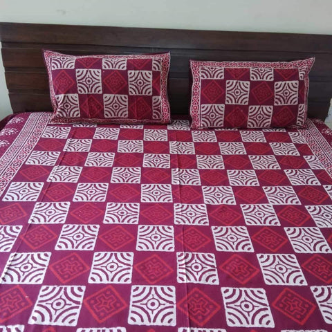Hand Block Print Geometric Design Mahroon Colour King Size Bedsheet (2 Pillow Cover)