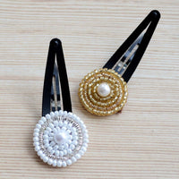 Ethnic Hair Clips For Toddler Girls (Gold & Silver) (Set of 2)