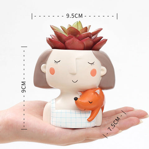 Girl With Fox Resin Succulent Pot