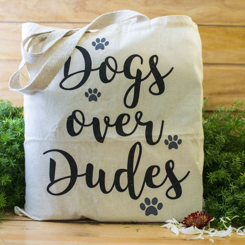 100% Cotton Tote Bags - Dogs Over Dudes