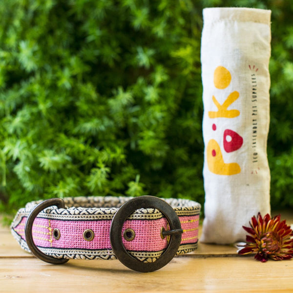 Eco-Friendly Jute Dog Collar - Pink (Buy 1 collar, get 1 Tote Bag FREE) at Qtrove