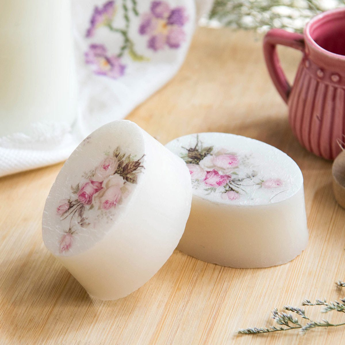 Goat Milk Soap With Vintage Floral Motifs