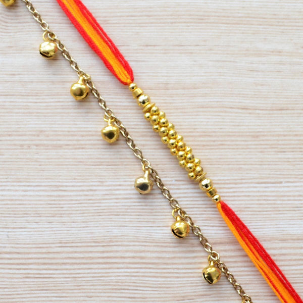 Gold Ghungroo Rakhi Jewellery Bracelet (Set of 2) at Qtrove