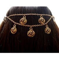Gold Roses Hair Chain Bohemian Jewelry