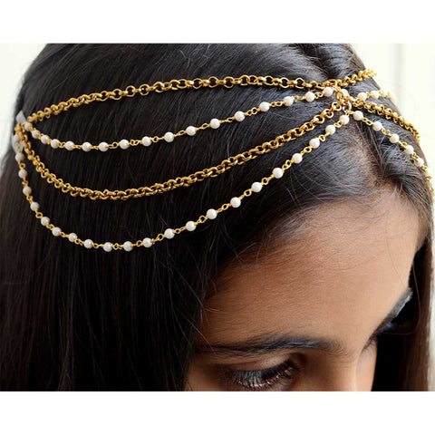 Gold and Pearl Multistrand Head Chain, Vintage Wedding Jewelry