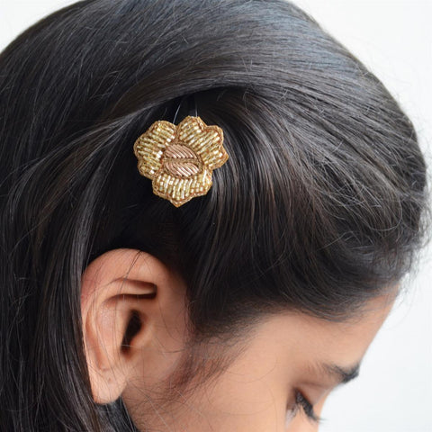 Gold And Silver Flower Hair Accessory Set
