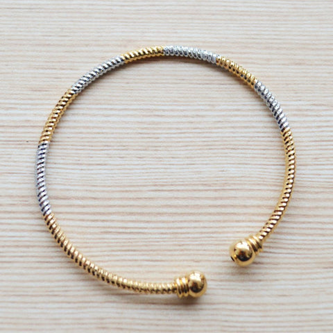 Gold And Silver Plated Openable Bangle