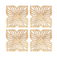 Leaf Design MDF Wooden Coasters - Golden (Set of 4)