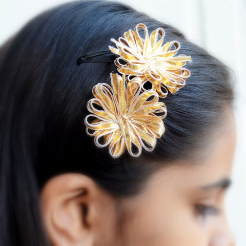 Golden Ribbon Flower Hair Clip