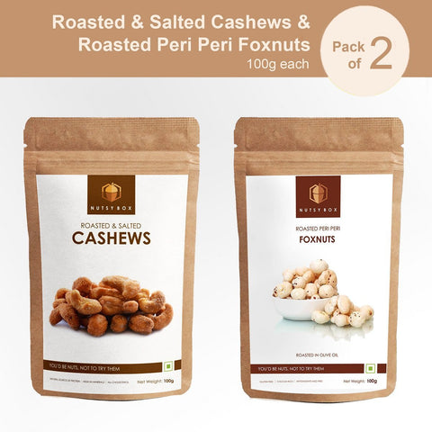 Roasted & Salted Cashews and Masala Foxnuts Combo (100gm Each)
