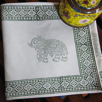 Elephant Design Green Colour Hand Block Printed Cotton Canvas 6 Seater Dinning Table Runner