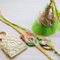 Green, Gold Zardozi Bead Rakhi and Tikka Set (1 Lumba,  2 Rakhi Bracelets and 1 Pouch With Tikka)