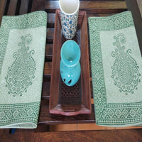 Green Colour Hand Block Printed With Natural Dye Cotton Canvas Table Mat (6 Pieces)