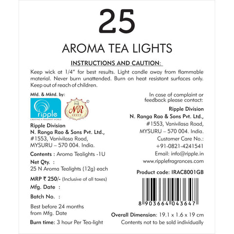 Green Tea & Bamboo Aroma Tea Lights Candle (Set of 25)