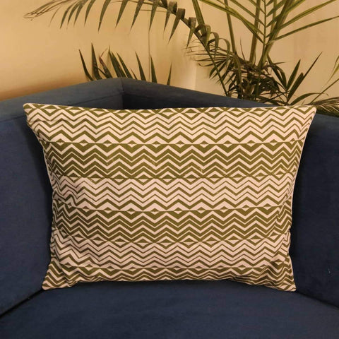 Zig Zag Hand Block Print Cotton Cushion Cover (Green)(Single)