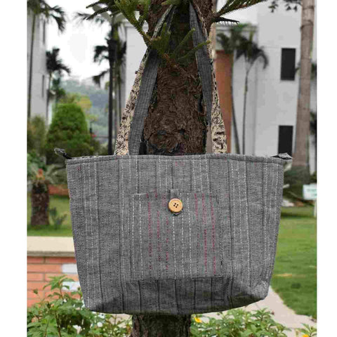 Grey Cotton Embroidered Tote Bag