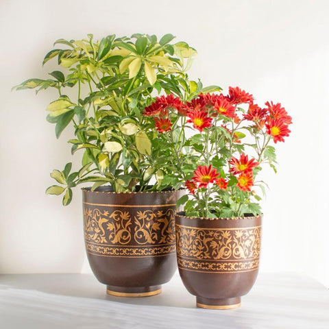 Gul Handpainted Metal Planter Large