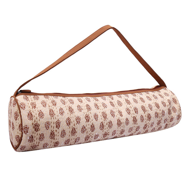 Yoga/Gym Mat Bag (Cotton Block Print With Kantha Embroidery) (Beige & Brown) at Qtrove