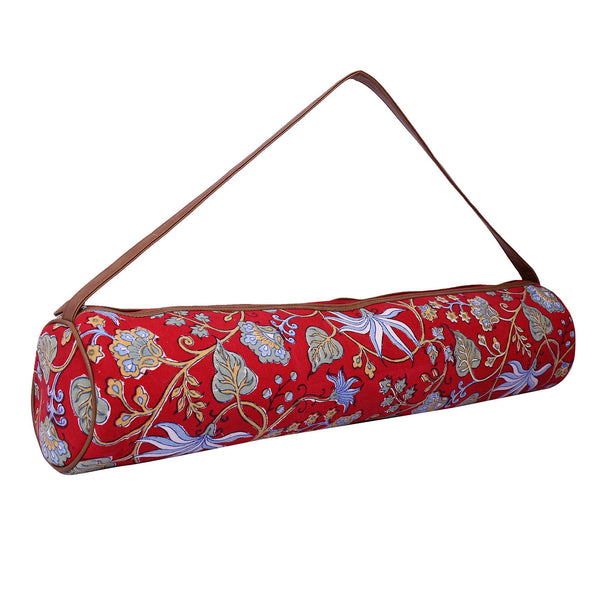 Yoga/Gym Mat Bag (Hand Block Print With Kantha Embroidery )(Red Floral) at Qtrove