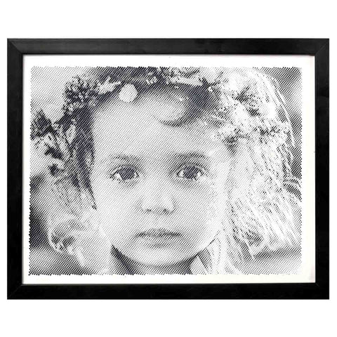 Black And White Portrait With Dotted/Half-Tone Effect - Large