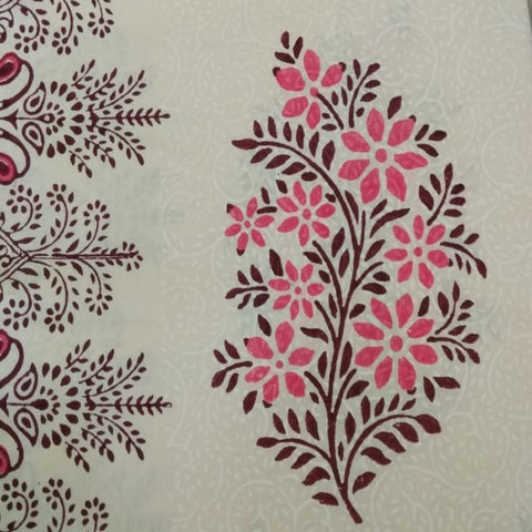 Pink and Brown Colour 100% Cotton 4 Seater Table Cover (Hand Block Print)