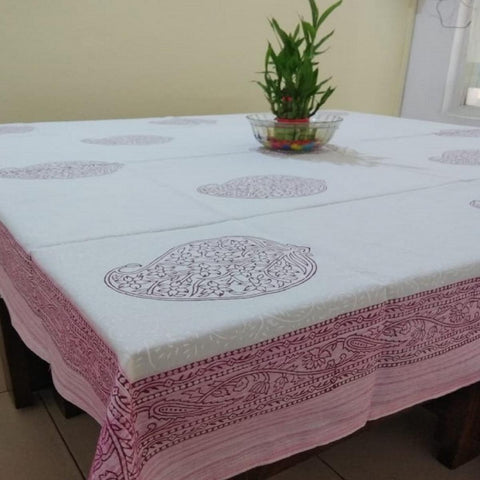 Paisley Design Pink Colour Hand Block Print 100% Cotton 4 Seater Table Cover