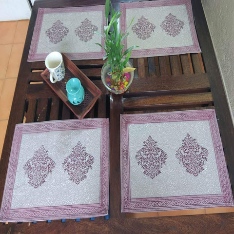 Red Colour Hand Block Printed With Natural Dye Cotton Canvas Table Mat (6 Pieces)
