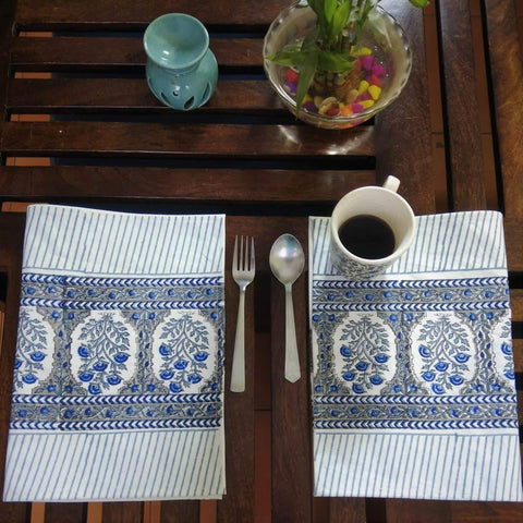 Blue Colour Hand Block Printed With Natural Colour Cotton Canvas Table Mat (6 Pieces)