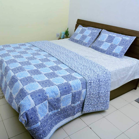 Hand Block Printed Cubical Dark Blue Quilted Bedcover with 2 Pillow cover