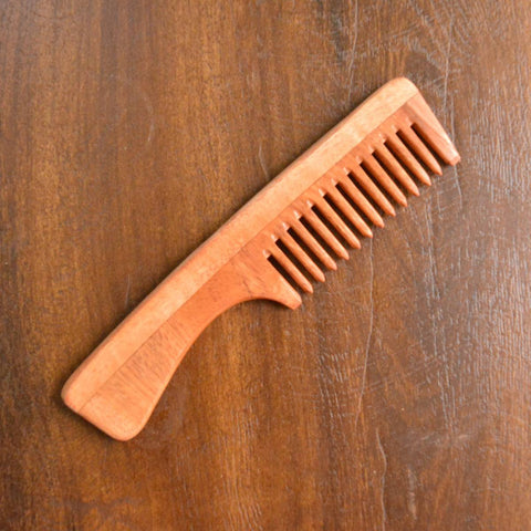 Neem Wood Comb With Handle (Narrow Teeth)