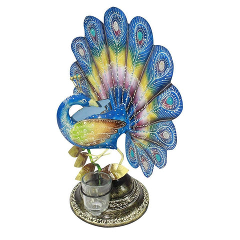 Handcrafted Ethnic Peacock Tea Light Holder Showpiece