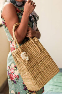Handcrafted Kauna Reed Folded Tote Bag
