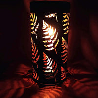 Handcrafted Leaf Pattern Metal Lantern