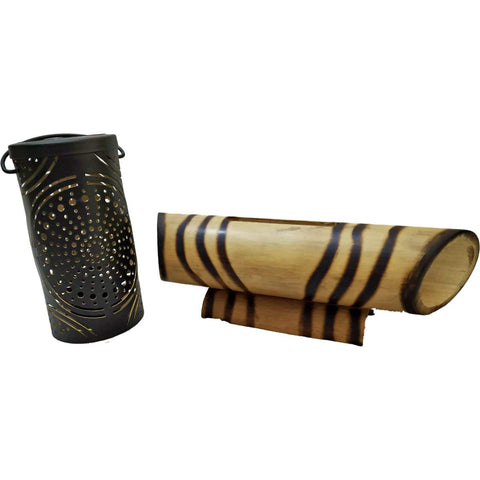 Handcrafted Mandala Lantern  And Bamboo Speaker (Striped)