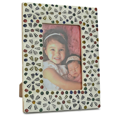 Handcrafted Mosaic Glass Wooden Photo Frame