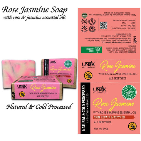 Handcrafted & All Natural Rose Jasmine Soap (Pack of 2)