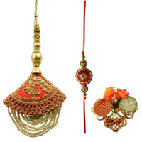 Hanging Beaded Red  Bhaiya Bhabhi Rakhi Set