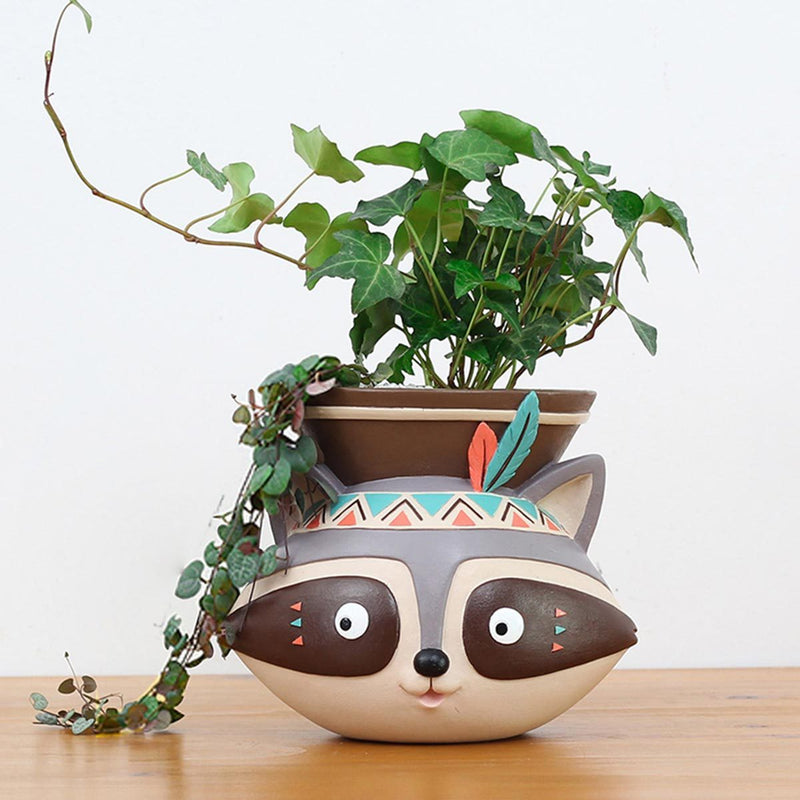 Hanging Tribal Raccoon Resin Succulent Pot