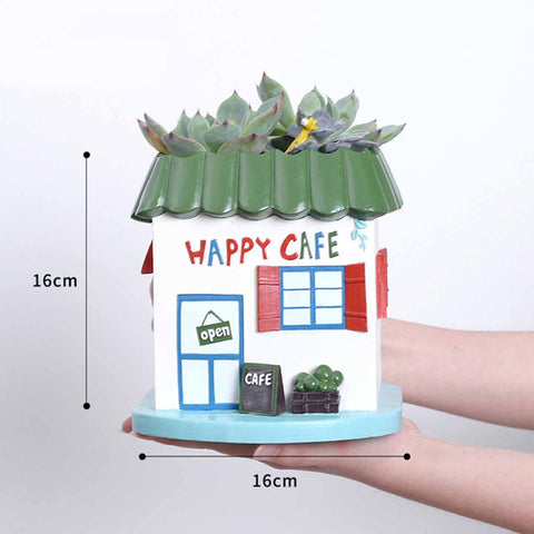 Happy Cafe Resin Succulent Pot