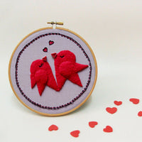 Hand Embroidery Heart Bird Wall Decor