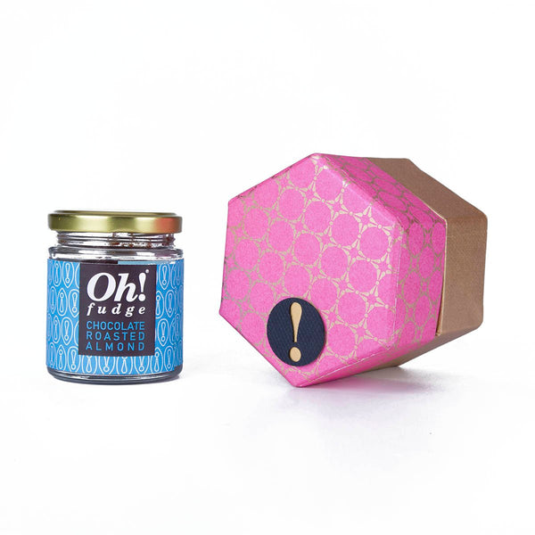 Hexagon Single Jar Fudge Box (Roasted Almond) at Qtrove